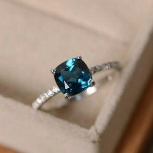 925 Silver Peacock Blue Topaz Ring